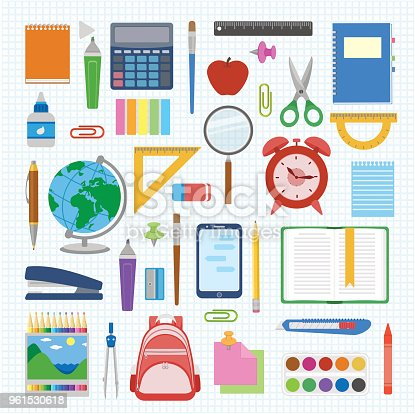 School supplies and items set on a sheet in a cell. Back to school equipment. Education workspace accessories on white background. Infographic elements. Vector illustration.