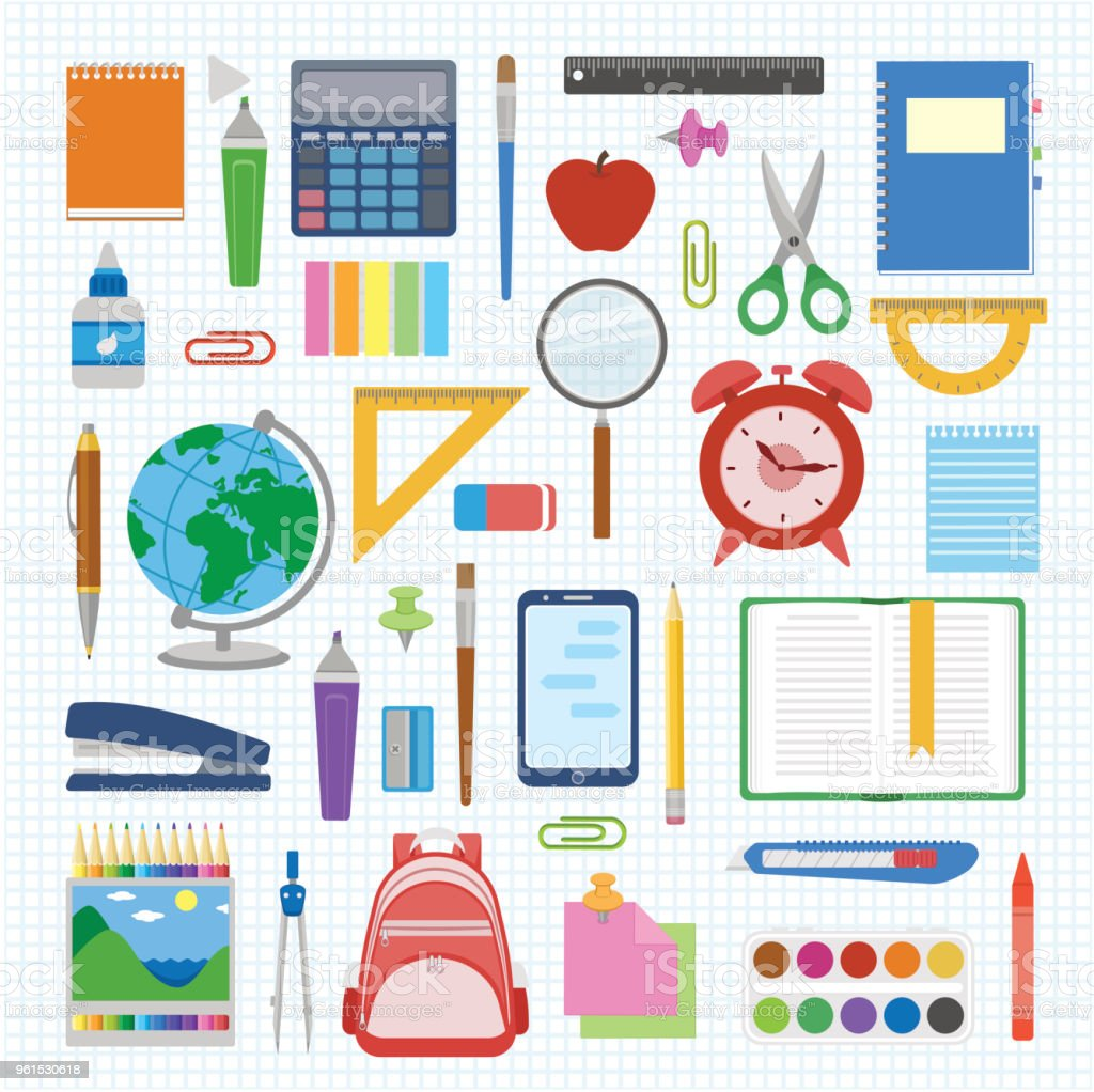 School supplies and items set on a sheet in a cell. Back to school equipment. Education workspace accessories on white background vector art illustration