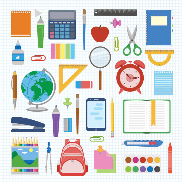 school supplies and items set on a sheet in a cell. back to school equipment. education workspace accessories on white background - book clipart stock illustrations