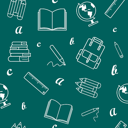 School supplies and office stationary on chalkboard background