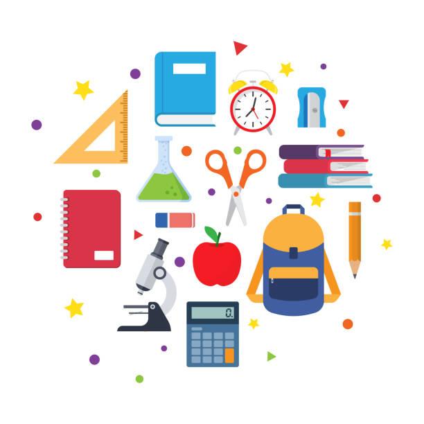 stockillustraties, clipart, cartoons en iconen met school benodigdheden. terug naar school. vector illustratie - schoolspullen