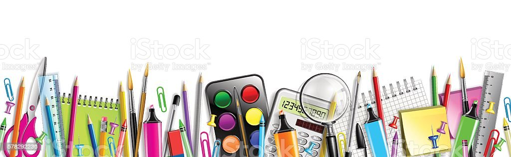 School Supplies Banner Isolated On White - Illustration vectorielle