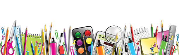School Supplies Banner Isolated On White Office Supplies in arrangement horizontal school supplies border stock illustrations