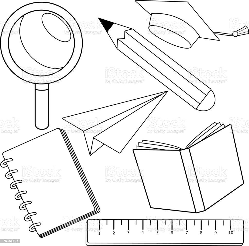 Okul Malzemeleri Siyah Ve Beyaz Kitap Sayfa Boyama Stok Vektor