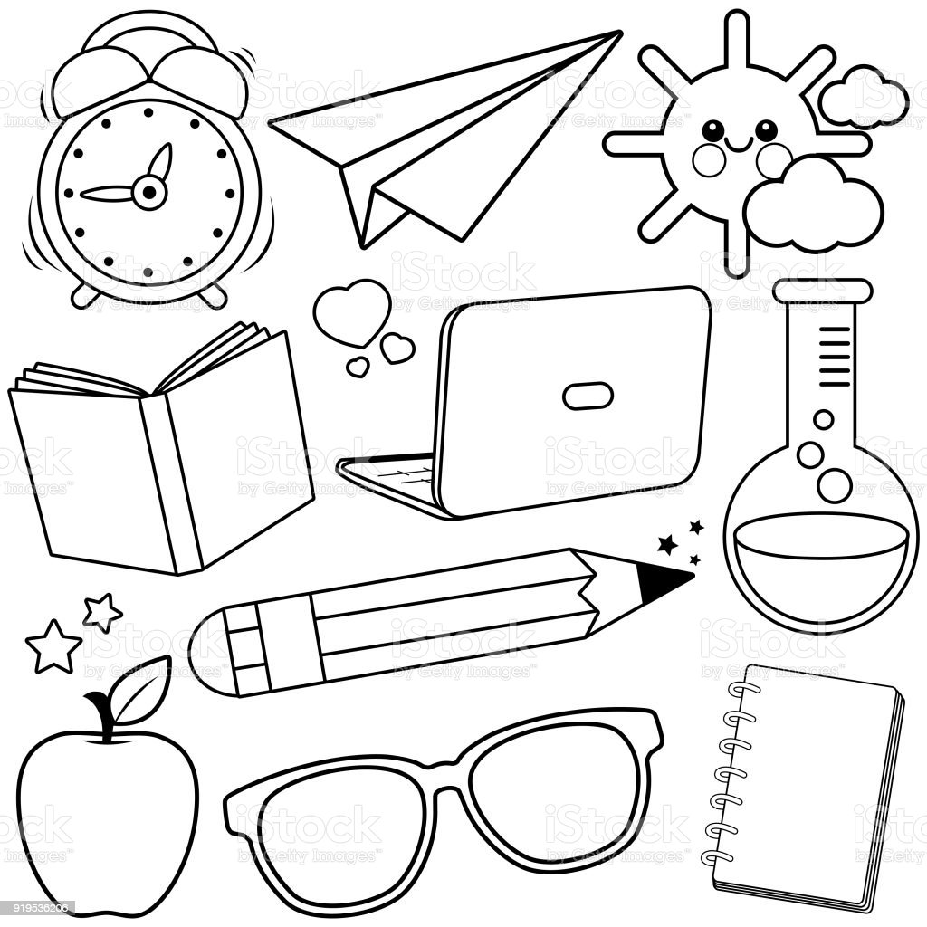school supplies black and white coloring book page stock