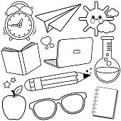 School supplies on white background. Vector black and white illustration