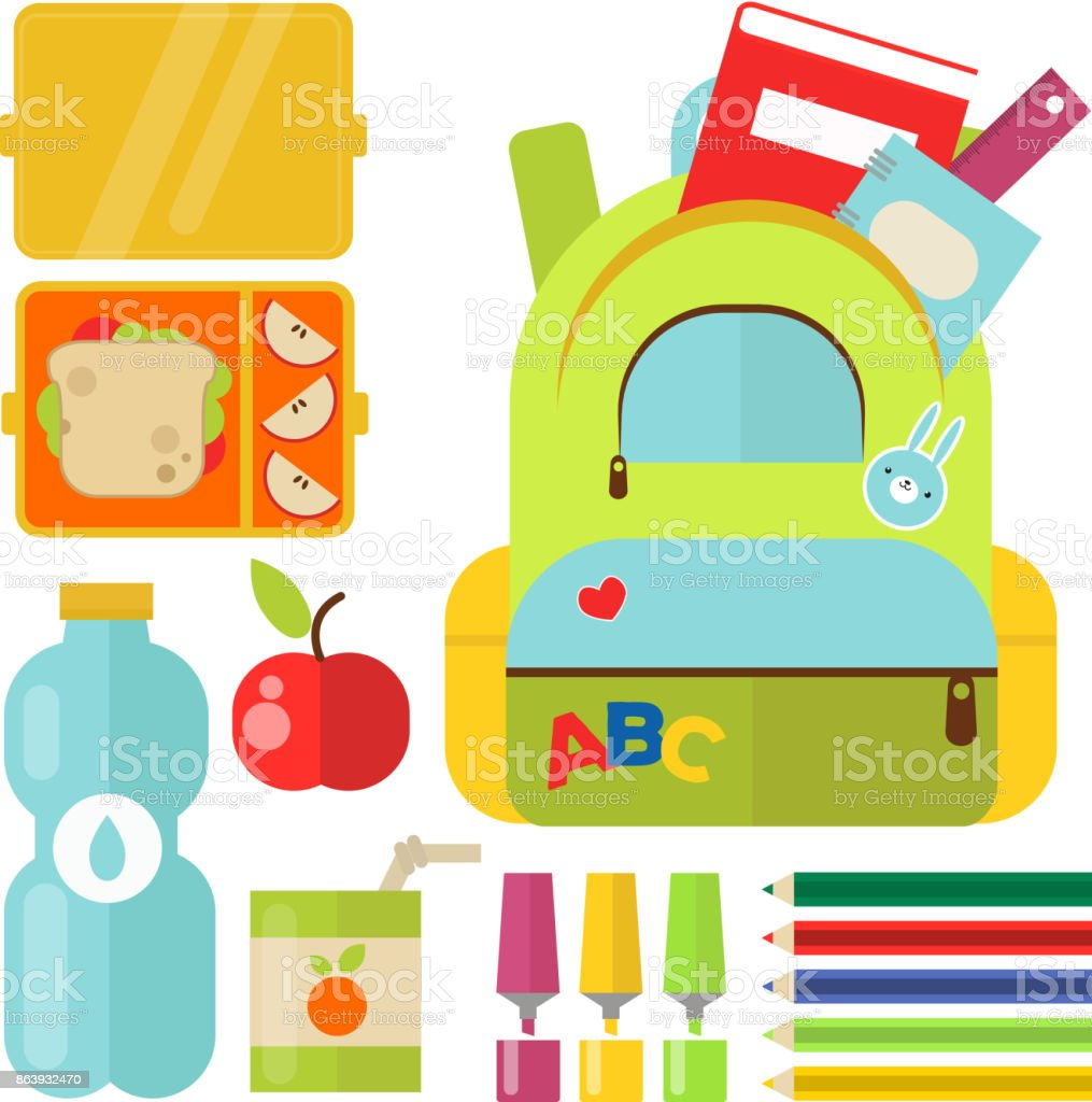 School supplies children stationary educational accessory student notebook vector illustration vector art illustration
