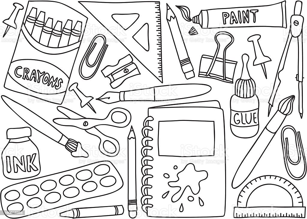 school supplies drawings stock vector art amp more images of