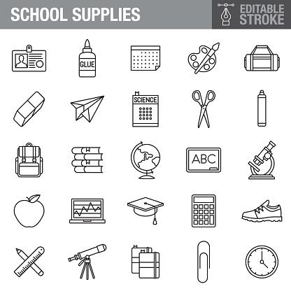 School Supplies Editable Stroke Icon Set