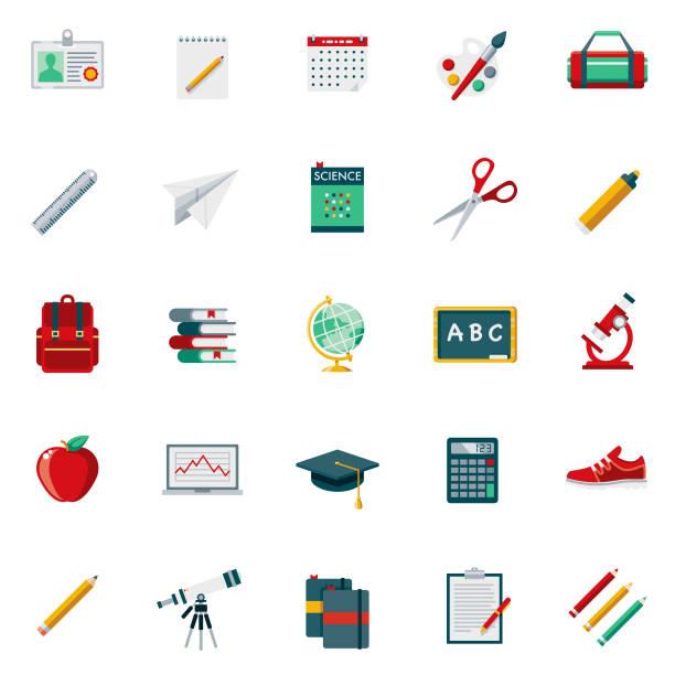 stockillustraties, clipart, cartoons en iconen met school supplies platte ontwerp icon set - pen schrijfgerei
