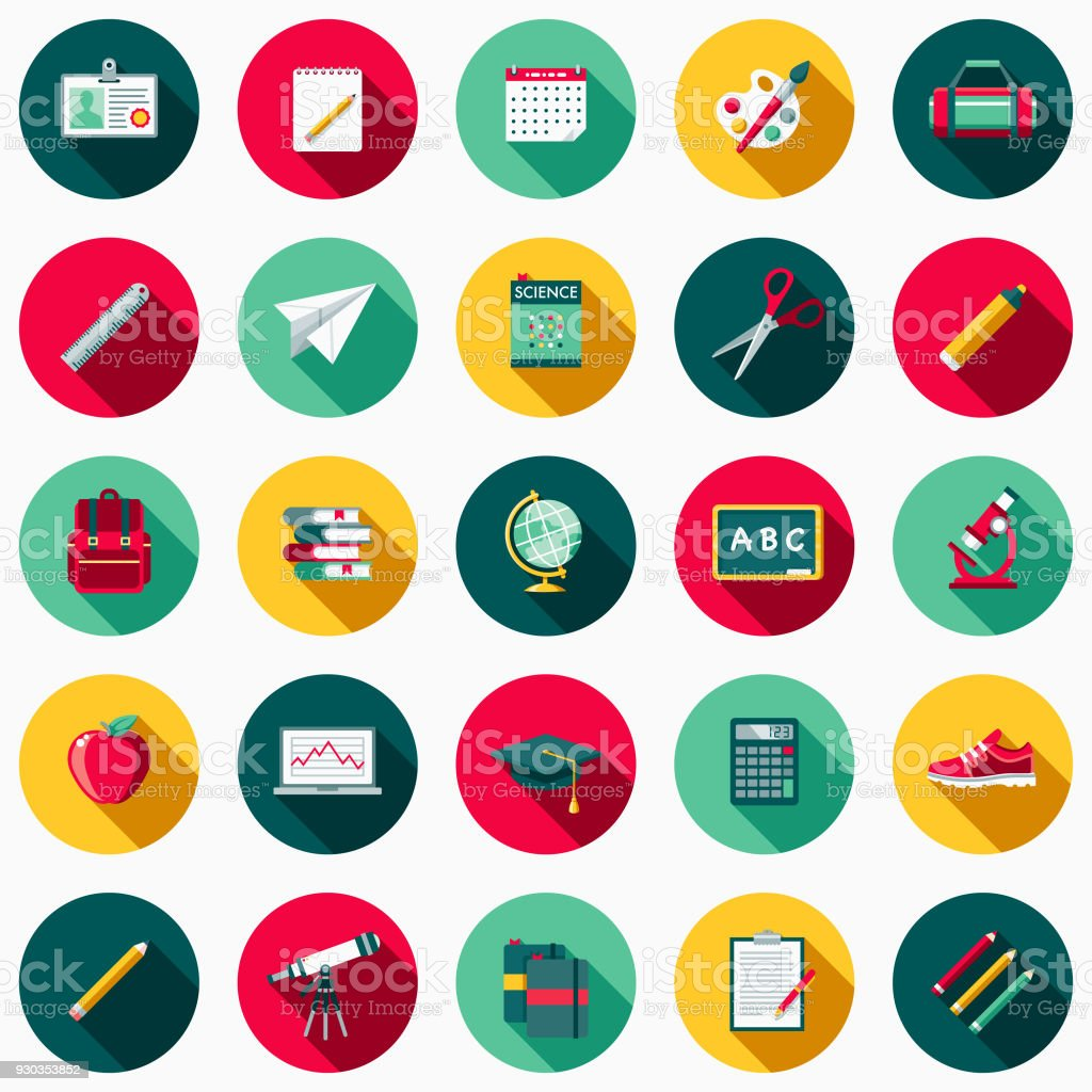 School Supplies Flat Design Icon Set with Side Shadow vector art illustration
