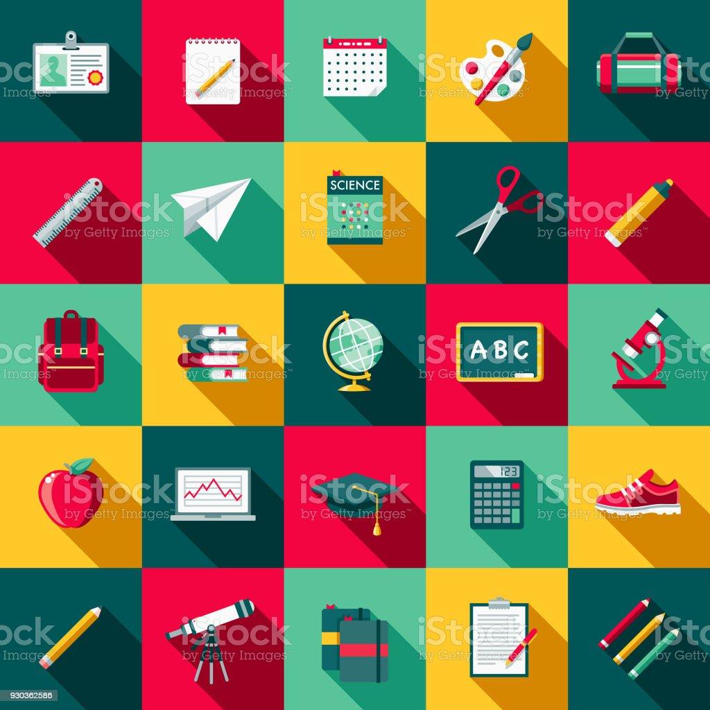 School Supplies Flat Design Icon Set with Side Shadow - Grafika wektorowa royalty-free (Bez ludzi)