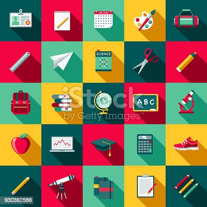 A set of flat design styled back to school supplies icons with a long side shadow. Color swatches are global so it's easy to edit and change the colors.