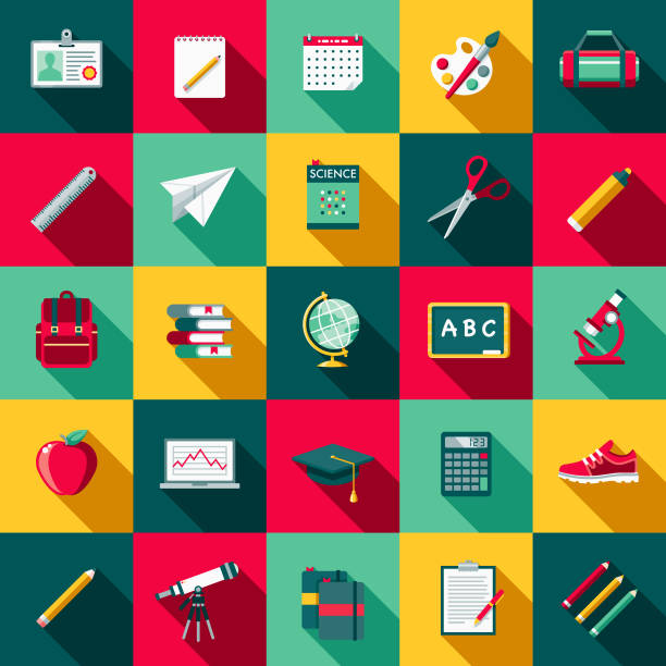 school supplies flat design icon set with side shadow - pióro przyrząd do pisania stock illustrations