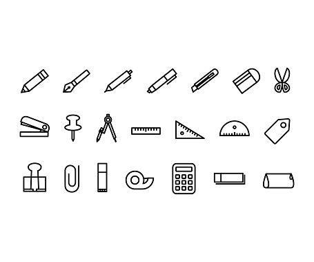 School supplies flat glyph icons set.