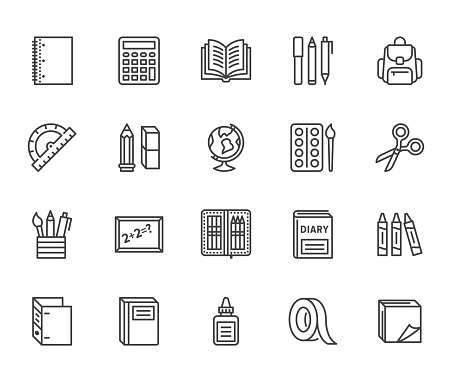 School supplies flat line icons set. Study tools - globe, calculator, book, pencil, scissors, ruler, notebook vector illustration. Thin signs for stationery sale. Pixel perfect 64x64. Editable Stroke