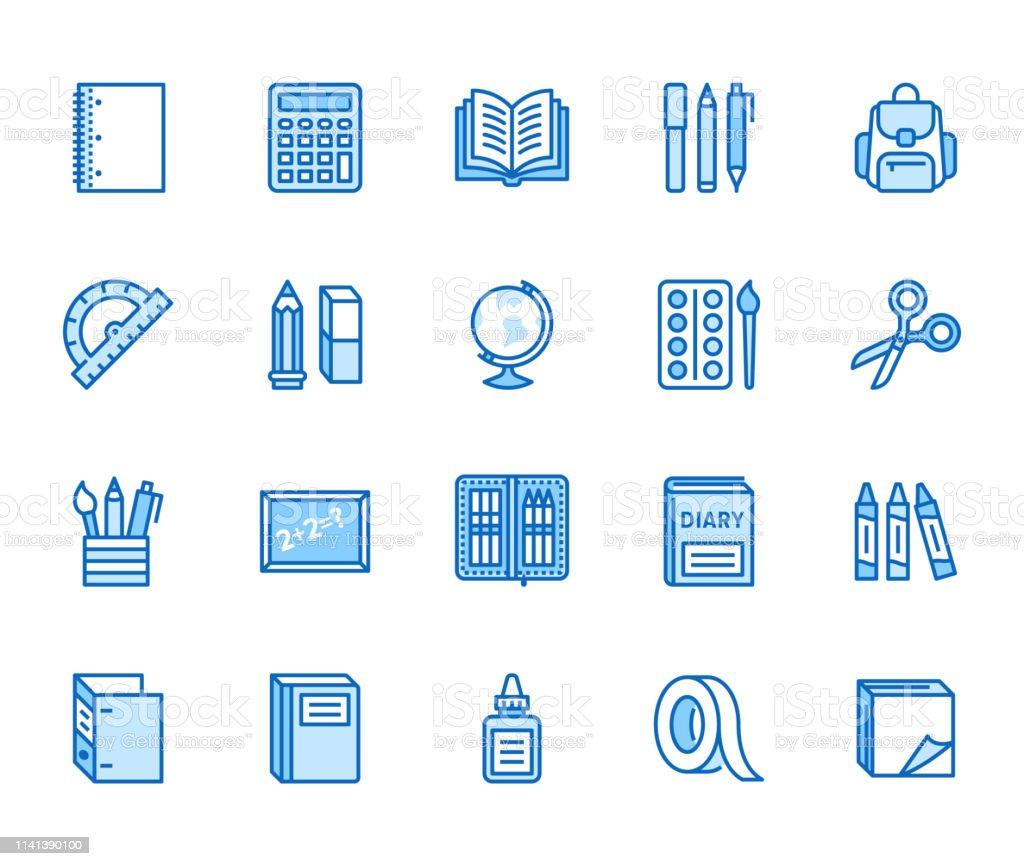 School supplies flat line icons set. Study tools - globe, calculator,...