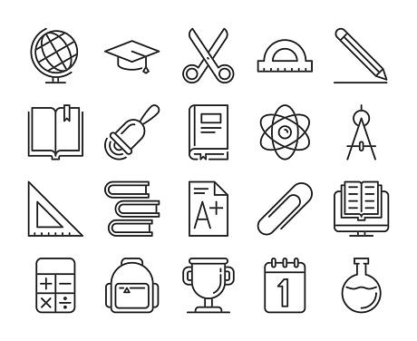 School supplies icons. Back to school line icon set. Vector illustration. Editable stroke.
