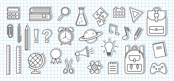 School supplies icons. Paper stickers on sheet of school checkered notebook. Black and white design. Vector
