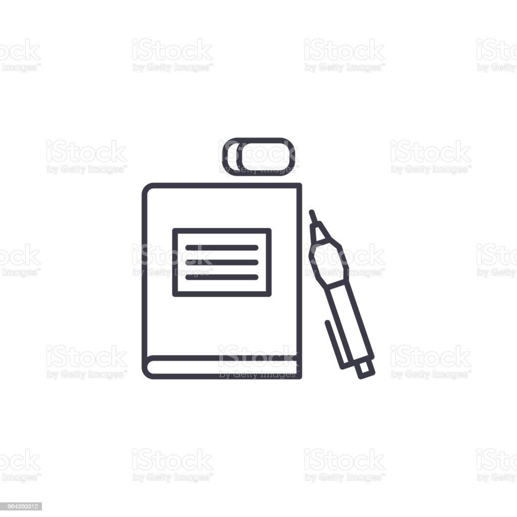 Conceito de ícone linear de material escolar. Material escolar linha vector sinal, símbolo, ilustração. - Vetor de Acessório royalty-free