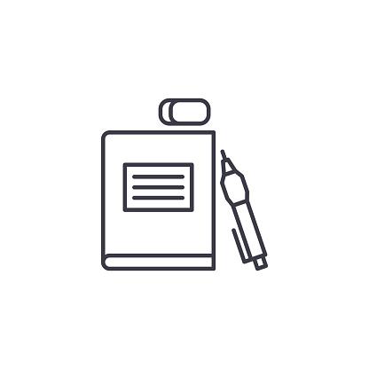 Vetores de Conceito De Ícone Linear De Material Escolar Material Escolar Linha Vector Sinal Símbolo Ilustração e mais imagens de Acessório