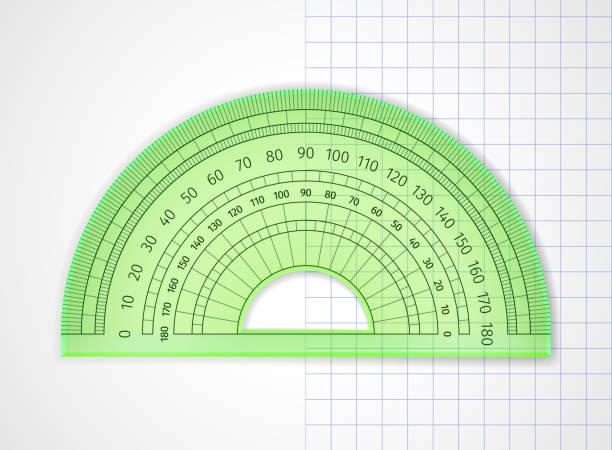 School supplies. Measuring tool. Green transparent plastic protractor vector art illustration