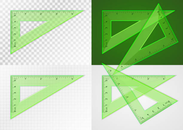 School supplies. Measuring tool. Triangle ruler 5 cm and 4 inch vector art illustration