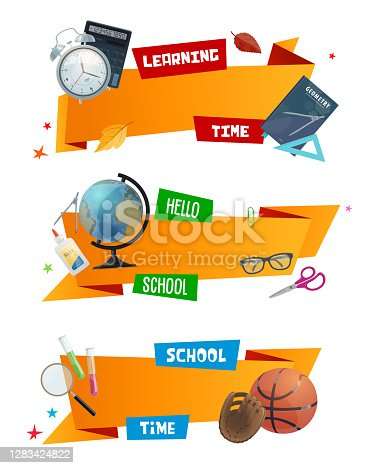 School supplies ribbon banners, vector education. Student book, scissors, globe and calculator, chemical tubes, glasses, ruler, glue and alarm clock, compasses and ball, back to school design