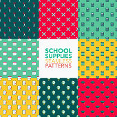 School Supplies Seamless Pattern Set