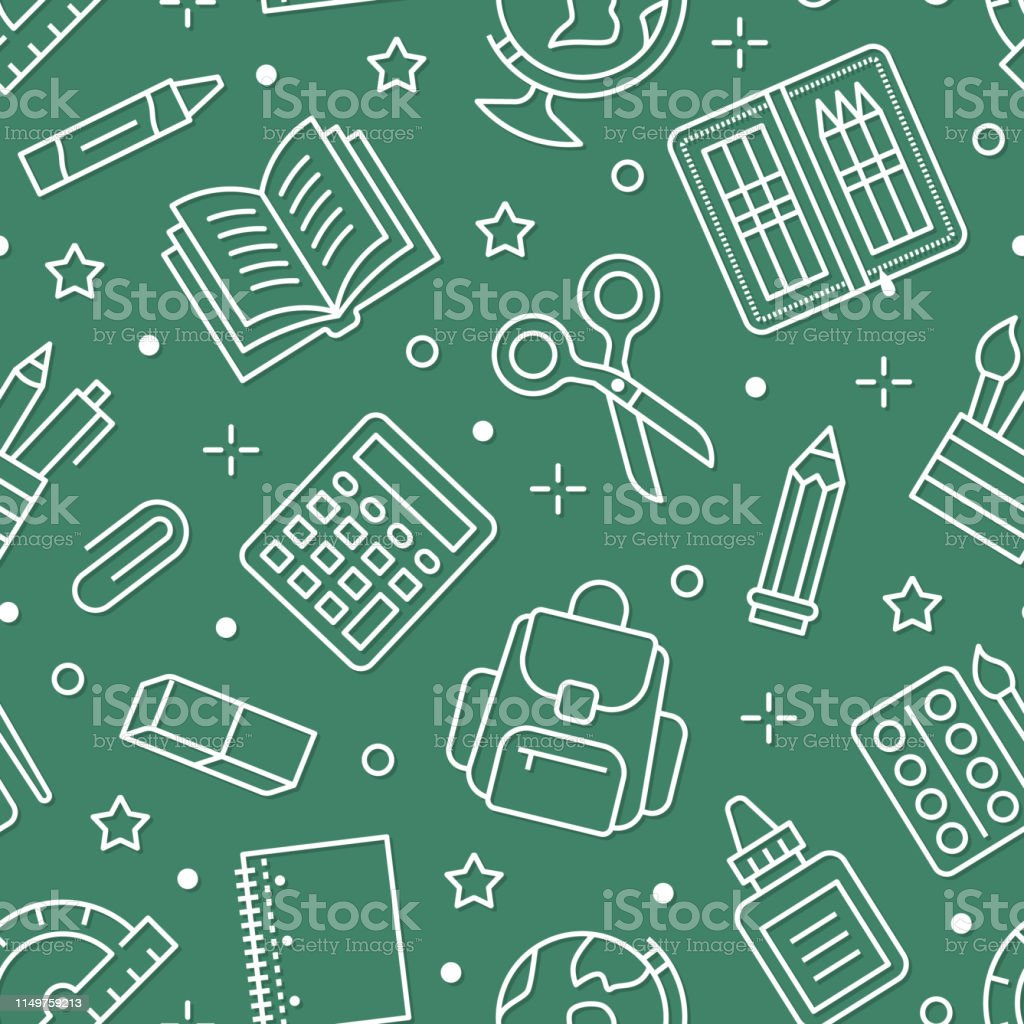 School supplies seamless pattern with line icons. Study tools...