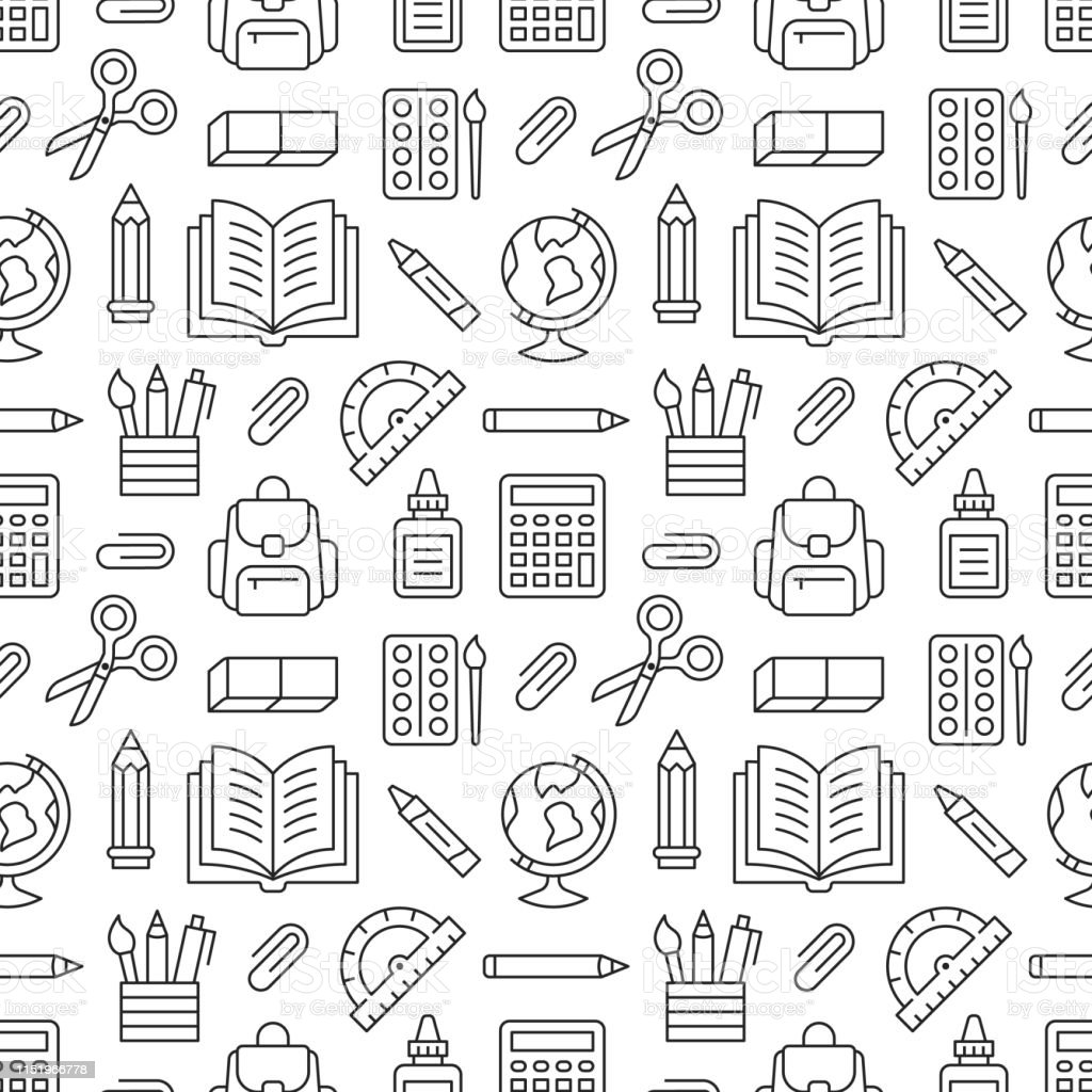 School Supplies Seamless Pattern With Line Icons Study Tools