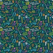 School supplies sketch seamless pattern in doodle style, vector illustration