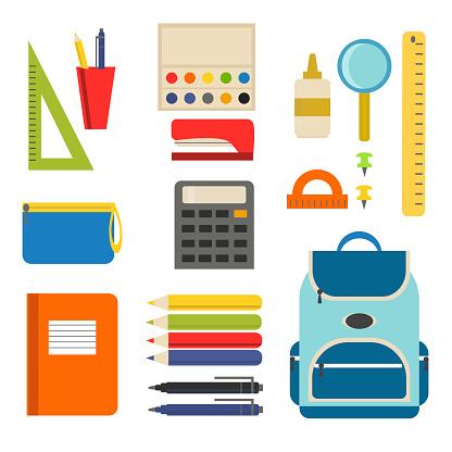 School supplies set with school bag, ruler, calculator, pen, pen