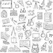 School supplies sketches of book, blackboard, pencil, calculator, microscope, laboratory flask, globe, computer, backpack, telescope formula DNA atom planet light bulb compasses ruler