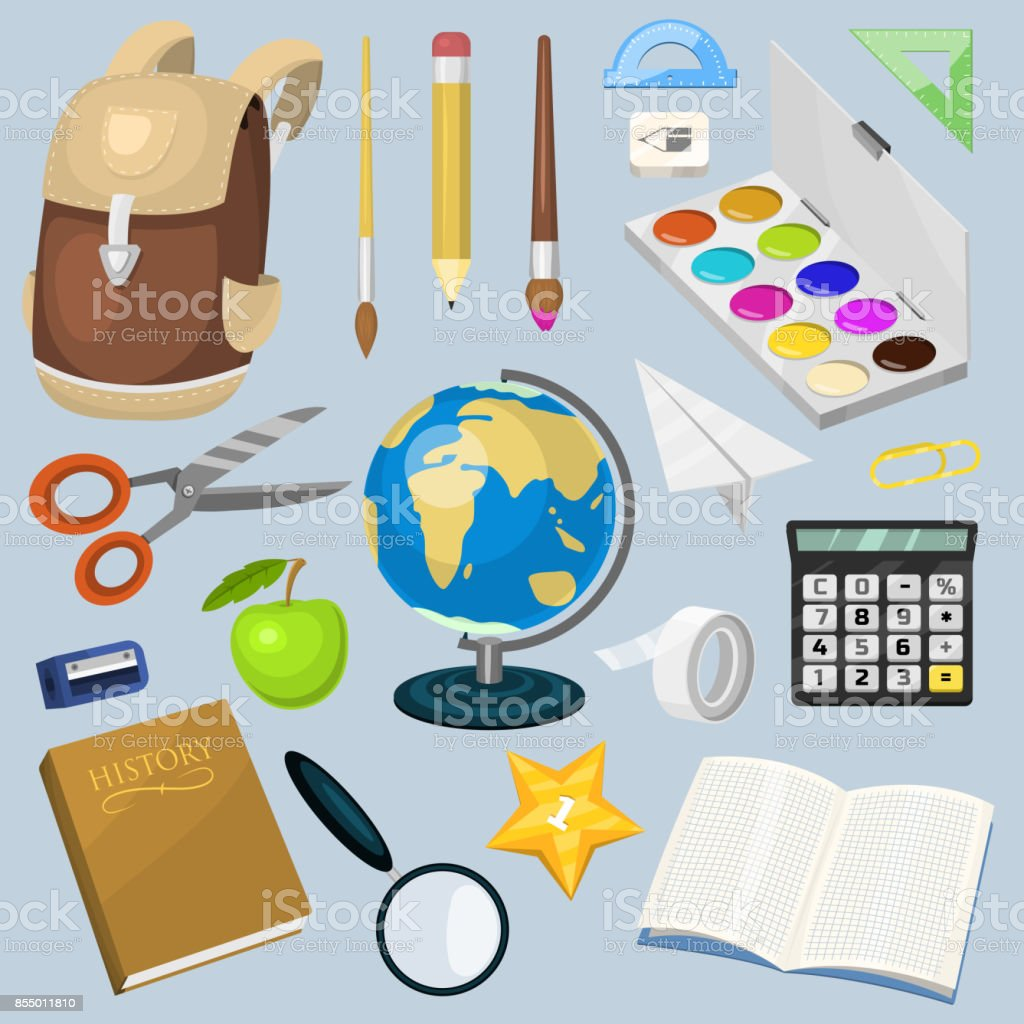 school supplies stationary educational backpack equipment vector