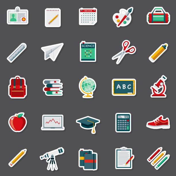 illustrazioni stock, clip art, cartoni animati e icone di tendenza di set di adesivi per forniture scolastiche - scuola