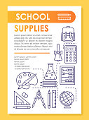 School supplies, subjects brochure template layout. Class tools. Flyer, booklet, leaflet print design with linear illustrations. Vector page layouts for magazines, annual reports, advertising posters