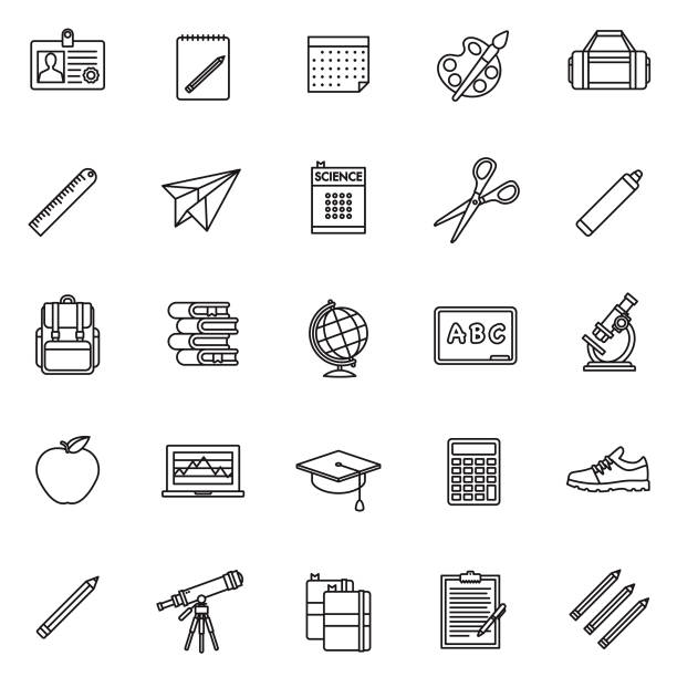 School Supplies Thin Line Icon Set A set of 25 thin line icons in a contemporary style. The vector EPS file is built in the CMYK color space for optimal printing. alphabet clipart stock illustrations