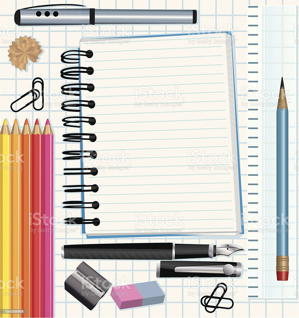 School supplies vector art illustration
