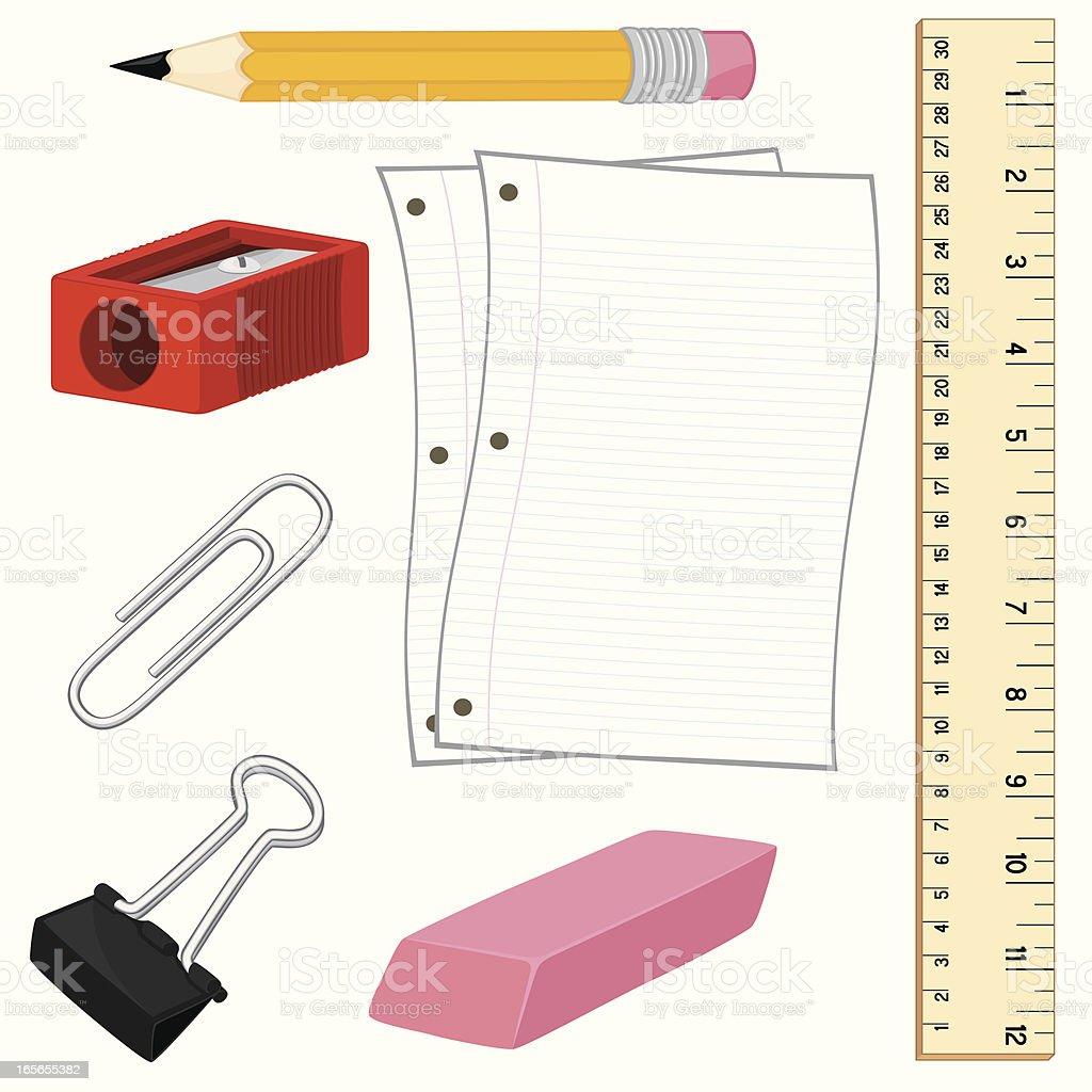 School Supplies royalty-free school supplies stock vector art & more images of binder clip