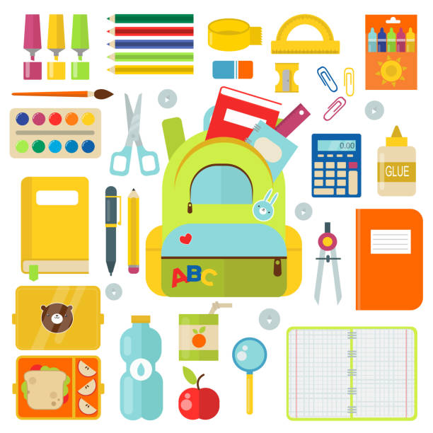 School supplies vector illustration isolated on white - Illustration vectorielle