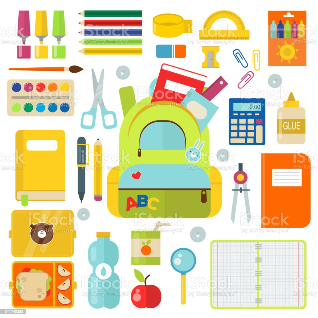 School supplies vector illustration isolated on white royalty-free school supplies vector illustration isolated on white stock illustration - download image now