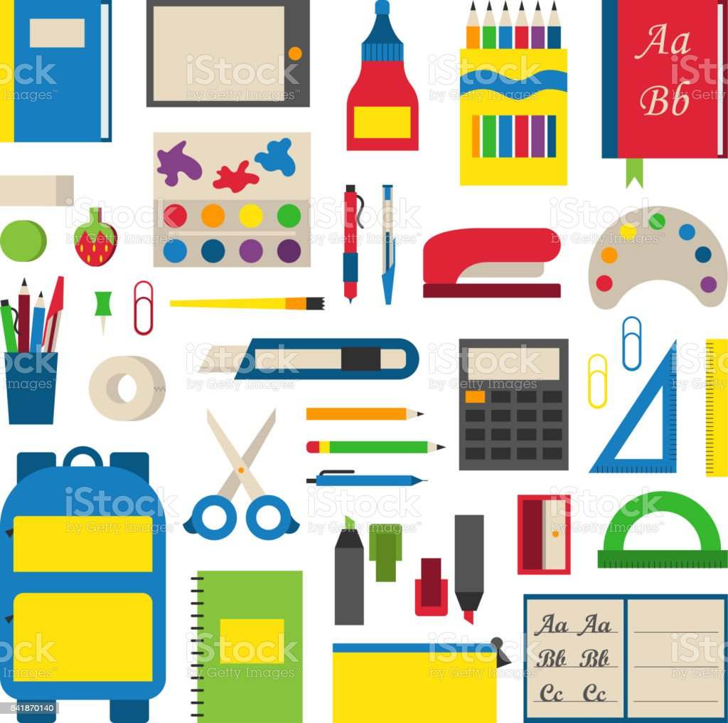 School supplies vector illustration. vector art illustration