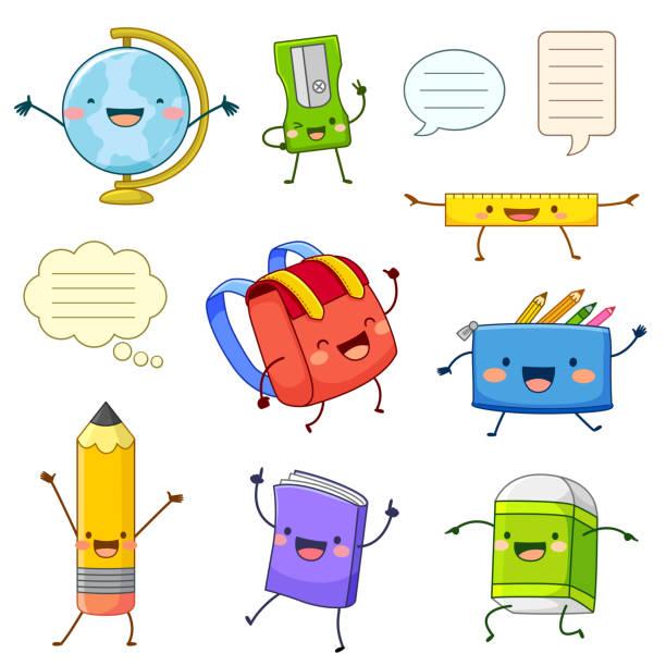 stockillustraties, clipart, cartoons en iconen met school aanbod stripfiguren - schooltas