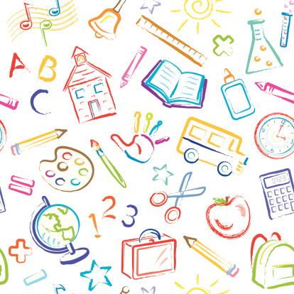 School Symbols Seamless Pattern
