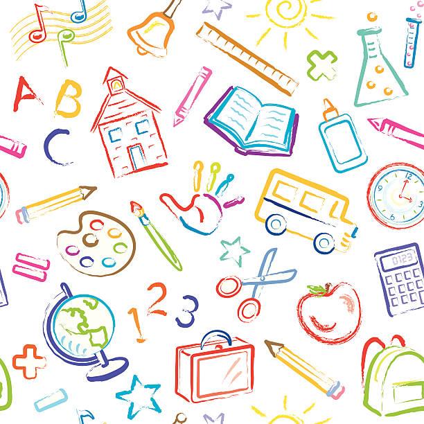 School Symbols Seamless Pattern Kid drawn School Subjects. book patterns stock illustrations