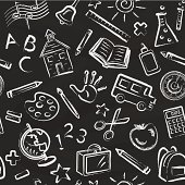 Chalk drawn school symbols on a blackboard. Seamless Pattern. Great for a Back to School background.