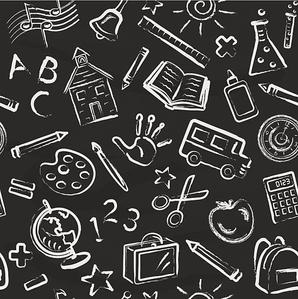 illustrazioni stock, clip art, cartoni animati e icone di tendenza di scuola simboli carta da parati - sfondo scarabocchi e fatti a mano