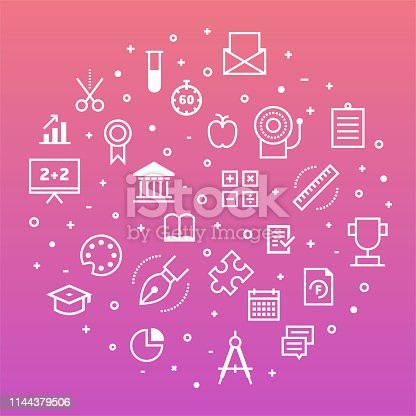 School system and talented students outline style symbols on modern gradient background. Thin line vector icons for infographics, mobile and web designs.