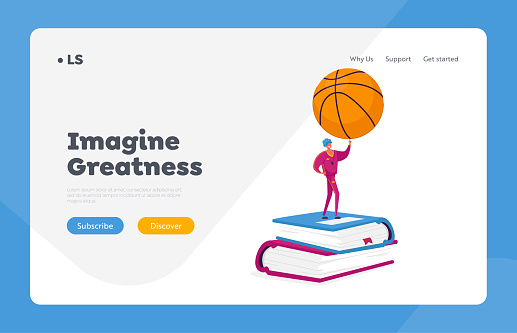School Teacher of Physical Culture Landing Page Template. Male Character in Sportive Costume and Whistle on Neck Holding Basketball Ball Stand on Pile of Huge Books. Cartoon Vector Illustration